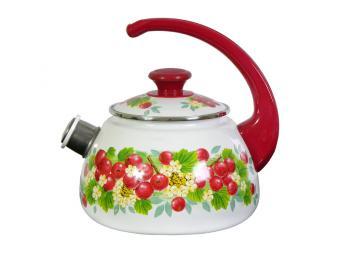 Чайник эмалированный 2л со свистком в ассортименте
