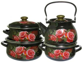 Набор кастрюль Розалия с чайником коричневый 21597