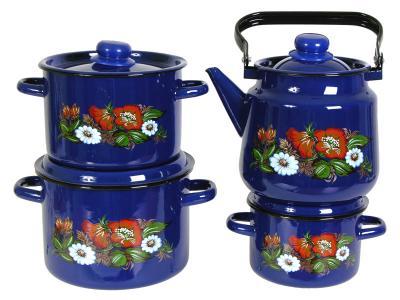 Набор кастрюль ''Русское поле'' с чайником Стальэмаль (Череповец)