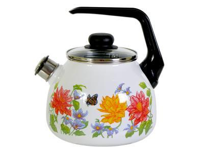 Чайник 3л со свистком Цветочный Стальэмаль (Череповец) 4с209/я