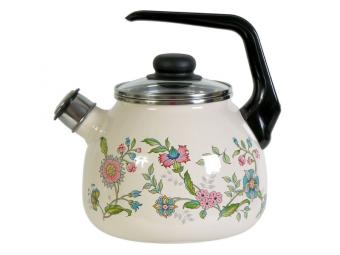 Чайник эмалированный 3л со свистком Луговые цветы