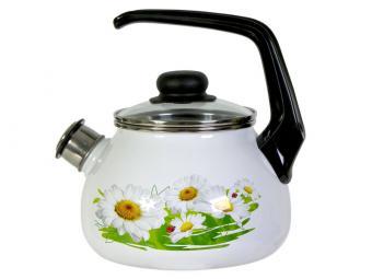 Чайник эмалированный 2л со свистком Ромашки