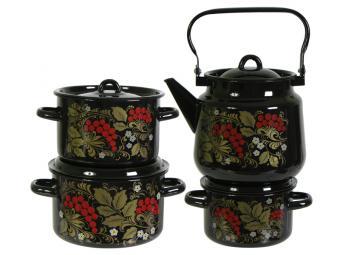 Набор кастрюль Рябина с чайником