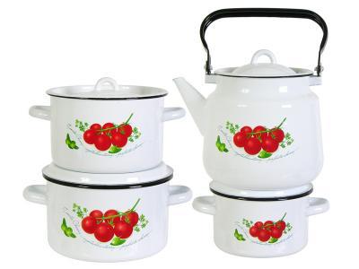 Набор кастрюль Томаты с чайником Стальэмаль (Череповец)