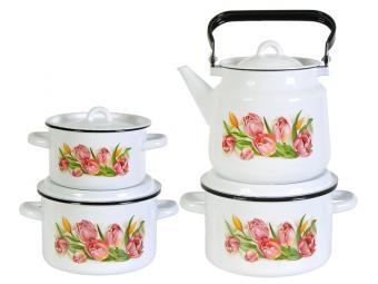 Набор кастрюль Тюльпаны с чайником