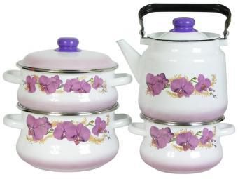 Набор кастрюль ''Орхидея'' с чайником