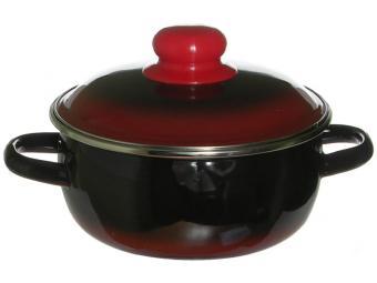 Кастрюля 1,5л сферическая черная с красным
