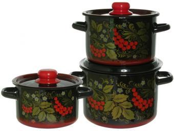 Набор кастрюль Рябина черная с красной тонировкой 24690