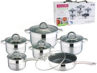 Набор посуды нерж 6 пр, сковорода 24см мрамор