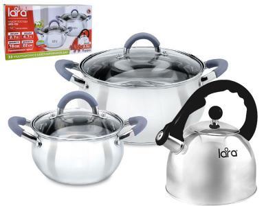 Набор посуды 3 пр (2, 7+4, 7л+чайник 2, 5л) стеклянные крышки LARA Bell LARA