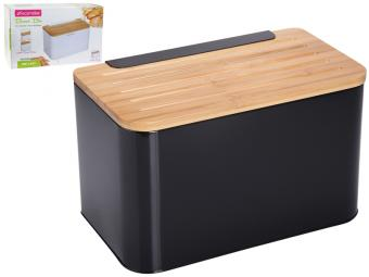 Хлебница Ящик металлическая с крышкой-доской (черный, белый)
