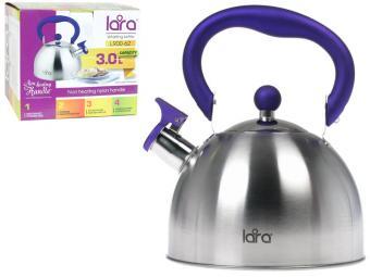 Чайник 3л (2,2л на уп) LARA матовый, индукция, со свистком