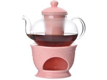 Чайный набор 4 предмета Чайник заварочный 600мл сито подставка подогрев