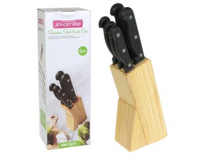 Набор ножей 6пр с бакелитовыми ручками и деревянной подставкой Kamille