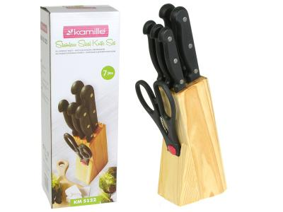 Набор ножей 7пр с бакелитовыми ручками и деревянной подставкой Kamille