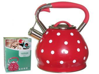 Чайник 3л со свистком индукция (красный в горошек)