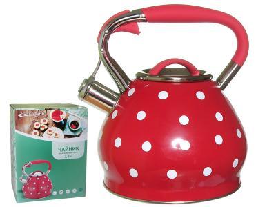 Чайник 3л со свистком индукция (красный в горошек) Катунь