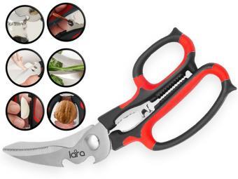Ножницы 23см 6в1 BLISTER LARA прорезиненные ручки, сверхострая заточка