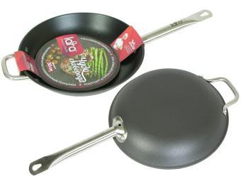 Сковорода 26см LARA черная, кованый чугун, ручка сталь, антипригар покр., индукция LARA