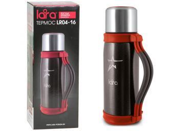 Термос 1,2л LARA (черный) молотковая эмаль, складные ручки, крышка-стакан