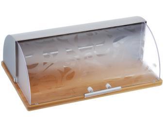 Хлебница нержавеющая сталь, бамбук, пластик 38*27,5*13,5см