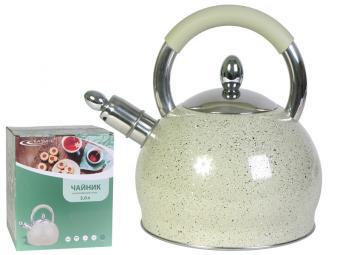 Чайник 3л со свистком индукция (белый мрамор)