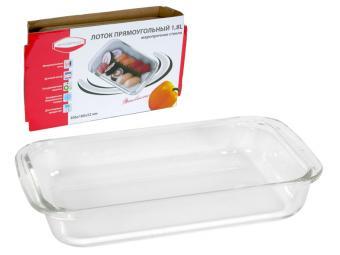 Блюдо для выпечки стеклянное прямоугольное 1,8л