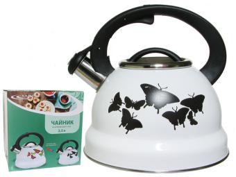 Чайник 2,5л со свистком индукция с декором/меняет цвет Бабочки
