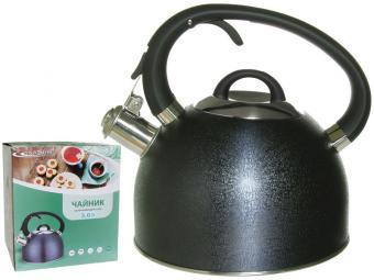 Чайник 3л со свистком индукция ручка soft-touch (черная кожа)