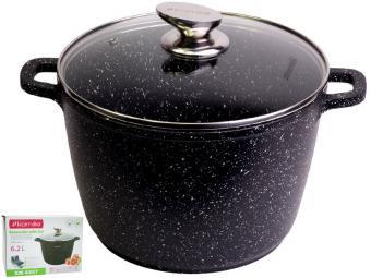 Кастрюля 6,2л с покрытием ''чёрный мрамор''