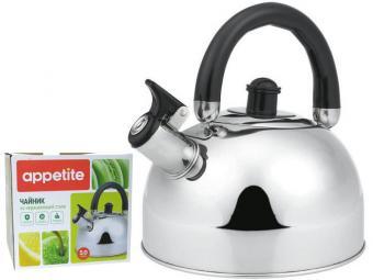Чайник 5л со свистком нерж тм Appetite