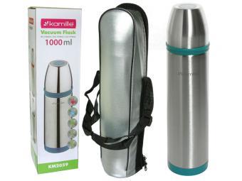 Термос 1000мл нерж с пластик. вставками (фиолетовая, зеленая, красная, голубая)