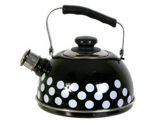 Чайник 2,5л со свистком, подвижная ручка черный/бе