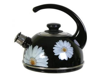 Чайник 2,5л со свистком, консольная ручка черный/ромашки
