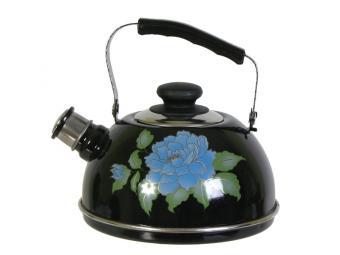 Чайник 2,5л со свистком, подвижная ручка черный/гол.орхидея