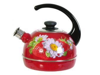 Чайник 3,5л со свистком, консольная ручка бордо/клубника с ромашкой