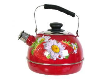 Чайник 3,5л со свистком, подвижная ручка бордо/клубника с ромашкой