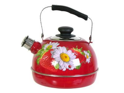 Чайник 3, 5л со свистком, подвижная ручка бордо/клубника с ромашкой