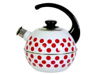 Чайник 3,5л сферический со свистком белые красные горохи