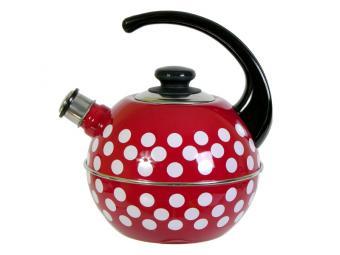 Чайник 3,5л сферический со свистком борд/бел.горох