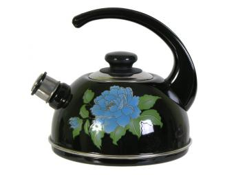 Чайник 2,5л со св., конс.руч. черный/голубая орхидея
