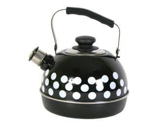 Чайник 3,5л со свистком подвижная ручка черный/белые горохи