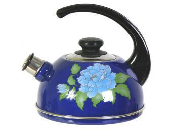 Чайник 2,5л со свистком, консольная ручка синий/орхидея
