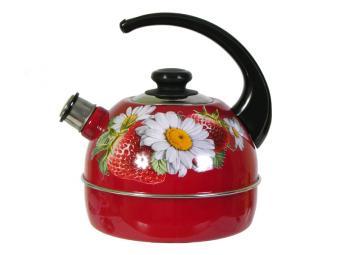 Чайник 4л со свистком, консольная ручка бордо/клубника с ромашкой
