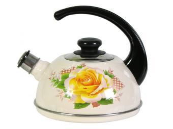 Чайник 2,5л со свистком, консольная ручка Роза/сло