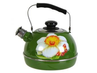 Чайник 3,5л со свистком, подвижная ручка Нарцисс/зелен