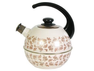 Чайник 3, 5л сферический со свистком консольная ручка Беж/золото