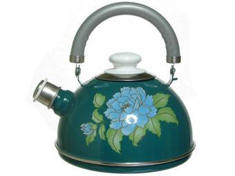 Чайник 2,5л со свистком бирюзовый/голубая орхидея