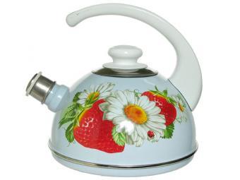 Чайник 2,5л со свистком конс/ручка серо-голубой/клубника с ромашкой