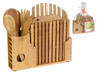 Лопатки бамбуковые 4 шт и 4 подставки для горячего